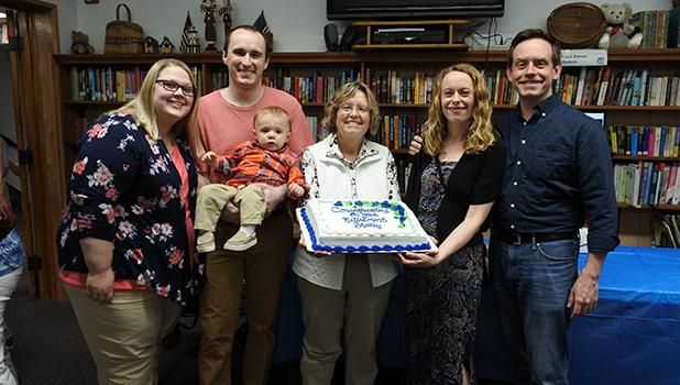 Ms. Shelley Steva celebrated her retirement from RLCC High School with her family. (Left) Sara, Lee, Quinton, Ms. Shelley Steva, Erin, and Andy.