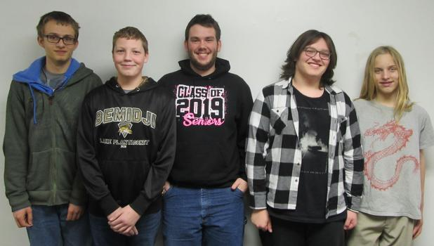 Red Lake County Central High School students that broadcast sporting events for RLCC are: (left to right) Steven Solga, Jed Duden, Phillip Sorenson, Danny Guillemette, and Remi Rathsack.