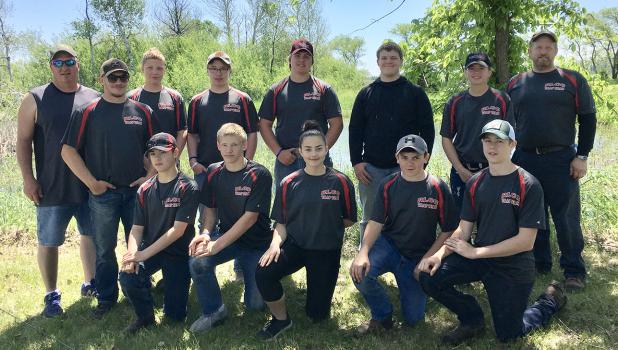 The RLCC team members and their coaches are: Back Row - Coach Rodney Duden, Tristyn Ferguson, Jed Duden, Noah Hanson, Tyler Hanson, Gunnar Thompson, Sidney Olson, Coach Mike Illies. Front Row- Gunnar Sandeen, Damon Ferguson, Paige Olson, Kaleb Fougner and Brett Anderson.