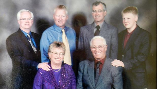 Marion and Stanley's 50th Anniversary, with sons Steve, Danny, Mike, and grandson Ryan
