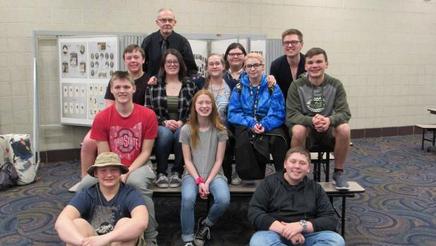 Pictured is the cast, along with Mr. McWilliam and Mr. Hanson, who are the dedicated directors and support for the WEM fine arts department. Pictured: Aries Qualey, Sidney Roed, Jadon Kangas, Anton Hickman, Zach Simonson, Will Tofstad, Sydney Svalen, Jayden Gensburger, Kolton Crocker, Clavdia Anfilofieff.