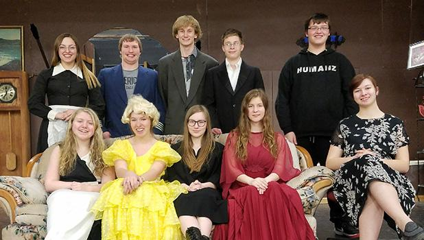 """Cast of the musical """"Somethings Afoot"""" - Front row (l to r): Hannah Kolstoe as Miss Tweed, Sydney Melby as Hope Landon, Kara Longtin as Regina Rancour, Jade Person as Lady Manley-Prowe, Jayden Iverson as Dr. Grayburne. Back row (l to r): Lilly Guillemette as Letty, Nick Pahlen as Col. Gilweather, Tom Nelson as Geoffrey, David Clifton as Clive, Danny Guillemette as Flint."""
