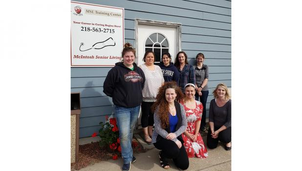 Congratulations to the first graduating class of McIntosh Senior Living's CNA Training Program. These students were amazing and will do a wonderful job, taking care of people that need them in several communities around Northwest Minnesota. Back row (l-r): Marissa Olson, Cheyenne Bunker, Jasmine Grindeland, Tara Waldal, Rebekah Rose; Front row: Monica Winter, Kristina Egoroff, and Instructor Carissa Affeldt.