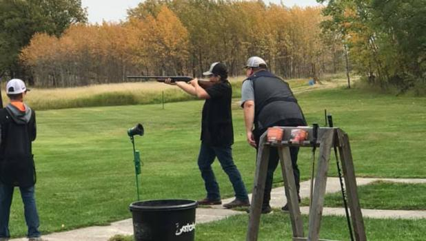 Grygla and Goodridge Trap kicked off last Sunday. Pictured is Raymond Moe shooting with guidance from Head Coach, Kenny Lunsetter.