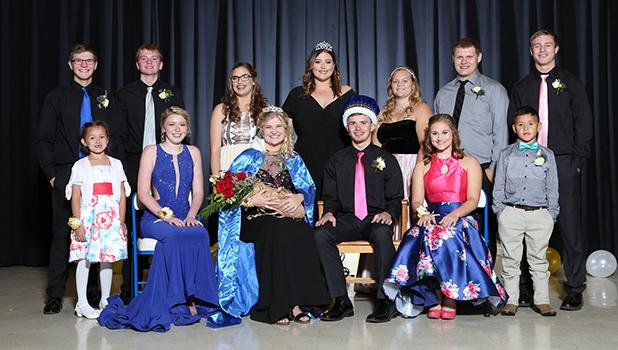 Front row, L-R: Payzlea Kainz (1st grade), Nichole Arveson (senior), Queen Libby Johnson (senior), King Kaleb Sjulestad (senior), Mercedes Coan (senior), Graysen Metcalf (1st grade). Back row, L-R: Dylan Wold (senior), Ian Haugen (sophomore), Trinity Walseth (sophomore), Kendra Jensen (2017 Queen), Kayla Kiesow (junior), Blake Passa (junior) and Jacob Tharaldson (senior). Photos by Thoele Photography