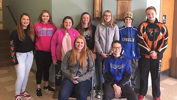Offering their time and service to the Northland Rescue Mission were Layla Jelle and Sheldin Sundberg (front). Back row, L-R: Ahna Stanley, Brigette Watne, Kia Klein, Riley Saurdiff, Elise Monson, Blake Rychlock and Reece Sundberg.