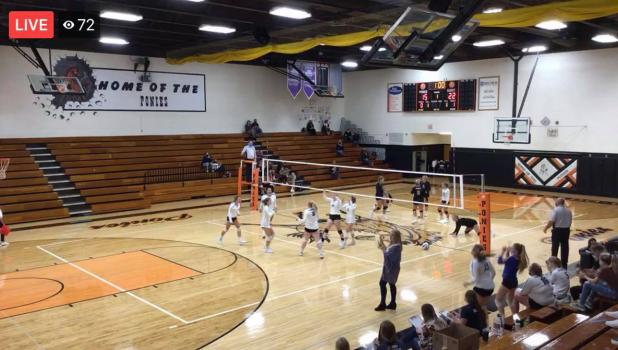 Charger volleyball fans tuned into the first game of the season via Facebook Live. You can see at this point, 72 people were logged on watching the Varsity team take on WAO for the victory! More photos of the game are on the back page. This photo is a screenshot by Grygla Eagle Newspaper