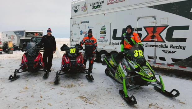 The 2019 USXC Goodridge/Grygla 500 Top 3 winners were #312 Zach Herfindahl, Arctic Cat Pro 600 Winner (far right), #10 Aaron Christensen, Polaris (middle) and #14 Taylor Bunke, Polaris (left). Photo by USXC Racing