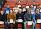 Spotlight on Scholarship certificates for football were given to (Front): Nick Pahlen, Tyler Jensen, Ethan Vettleson, Seth Paradis, and Matt Vettleson. (Middle): Gunnar Thompson, Derek Peterson, Connor Lambert, Chris Longtin, and Zach Benson. (Back): George Duden, Tristyn Ferguson, and Brock Tvedt.