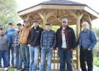 Shown at the new gazebo at the Clearbrook Park are from left to right:  Tom Anderson, Lloyd Engen, Wyatt Buer, Caleb Petterson, Erick Bergman, Levi Nelson, Wyatt Anderson, Cody Vettleson and Lowell Stevens.