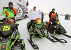 The big winners at the Gerald Dyrdahl Memorial Pine Lake 200 last weekend all were riding Arctic Cats. Shown left to right: Wes Selby from Colorado in 3rd place, $3,380; Chad Lien, from Thief River Falls winner of the $10,000 and Zach Herfindahl from Wisconsin in 2nd place, $5,570.