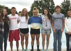 Lifeguard staff  at the Clearbrook pool are from left to right: Annaliese Ballard, Jack McQuown, Ella Engen, Annabell Phillips, Tessa Tramm, Jensen Engberg and Pool Director Kayla Walberg. - Photo by Bonnie Kirchman
