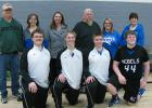 Rebels Parents Night junior basketball players: Dylan Olsen, Talon Porter, Brandon Lee, Makay Berns, and their parents: Chris and Beth Olsen, Kristi Nelson, Jack and Tracy Lee, and Gin Berns.