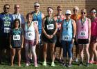 Oklee Market Day 5K Walk/Run winners were (back row L to R): George Banasau; Russell Sorenson; Kim Rosendahl; Briar Lane and Bob Melby. Front row: Taylyn Banasau; Gail Ose; Katie Holstrom; Mary Jo Mugaas; Vanessa Wilebski and Michelle Bakken.