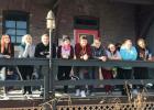 The RLCC French Club in front of the RestoGare Bistro: Jarisa Bailey, Tasha Manning, Adrien Verbout, Daphney Koralewski, Austin Jensen, Andrew Fish, Billie Gryskiewicz, Grace Gieseke, and Julia Bernstein.
