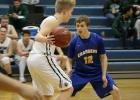 Varsity player, Jake Tharaldson, in the game against Roseau last week, January 15th. Jake had 4 points in the game.
