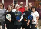 Pickleball players who meet each Monday at Clear Waters Life Center in Gonvick include: (Front row left to right) Nancy Mason, Kathy Kjolhaug, Eileen Lien, Gwen Eck, and Jeanie Sorenson; (Back row left to right) Sue Dalager, Mike Mason, Becky Dorman, and Arly Eck.