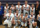 Rebel boys' basketball took first place in Sacred Heart 8th grade tournament. Front Row: Andrew Gryskiewicz, Eric Gieseke, Bailey Hince, Carter Williams, Brody Moen, and Brock Tvedt. Back Row: Coach Kevin Philion, Wakely Bryl, Isaiah Aquino, Jordan Kasprowicz, Isiah Olson, Jake Duden, and Coach Kory Baril.