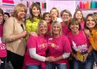 Some of the group gathered together for a picture with Jenna Bush Hager and Hoda Kotb at the Today Show studio. On the left is Sandy Granley and Kay Granley Vettleson wearing her new outfit. In the middle are the twin sisters Girltime Getaway trip planners Michelle on the left and Marci on the right. Photo courtesy of the NBC Today Show.